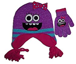 Girls Critter Monster Face Hat and Gloves Set [4011]