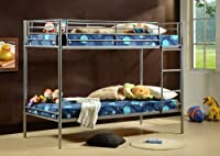 3ft Single Metal Bunk Bed with 2 3ft Mattresses Included
