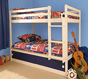 Boys Slide Storage White Wooden Bunk Bed with Blue Sliding Doors with Mattresses