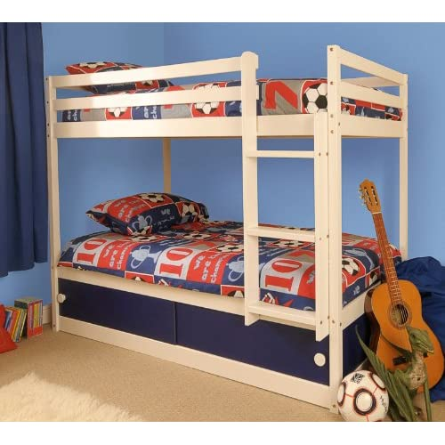 Boys Slide Storage White Wooden Bunk Bed with Blue Sliding Doors