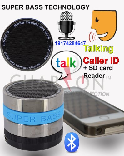 Portable Bluetooth Speaker System + Talking Caller Id Handsfree Speakerphone + Sd Card Function Charzon Mmbox For Iphone / Android Smart Phones / Ipad / Tablets / Macbook / Notebooks. Built-In Speaking Command To Speak To You (Blue)