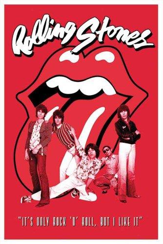 """Rolling Stones - Poster """"Rolling Stones"""", accessori inclusi (2 aste di plastica trasparente, lunghezza: 62 cm) multicolore"""