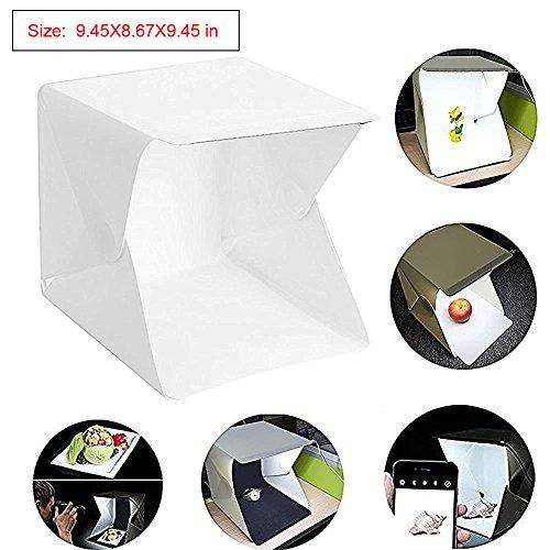 Photo Studio Tent, Mini Foldable Photography Studio Portable Light Box Kit with LED Light, LED Light Tent (22.6cmx23x24cm)+ Two Blackgrounds (White and Black) (Mini Photo Studio Kit compare prices)