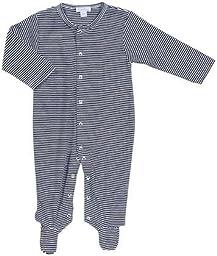 Kissy Kissy Stripe Footie (Baby) - Navy-Newborn