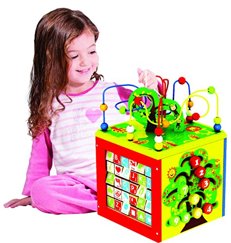 Deluxe-5-in-1-Bead-Maze-Cube-Activity-Center-Multifunctional-with-Turning-Base