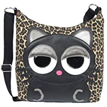 Sleepyville Critters Black Kitty Cat Leopard Print Canvas Cross Body Soulder Bag