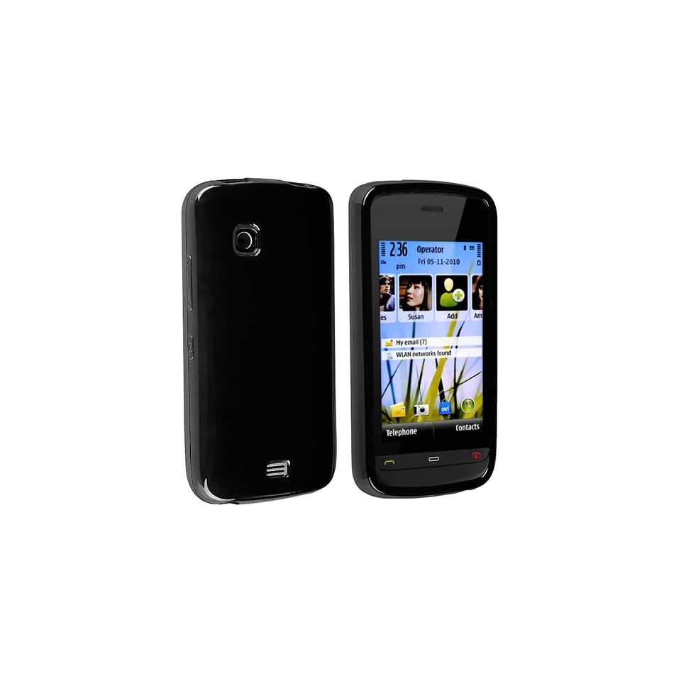 eForCity TPU Rubber Skin Case for Nokia C5 03, Black
