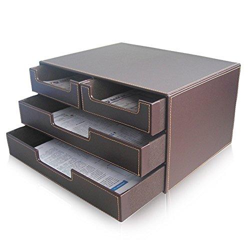 Awardpedia kingfom 4 drawer pu leather office filing - Organisateur de tiroir bureau ...