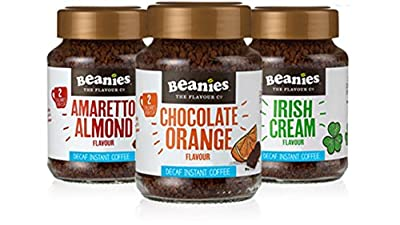 New Boxed! DECAF Flavoured Instant coffee trio - Chocolate orange, Amaretto, Irish Cream - 3x50g mini jars by Caramba