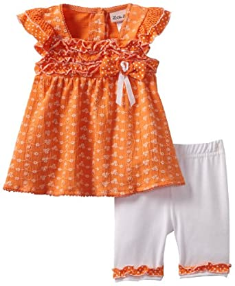 Little Lass Baby-Girls Infant 2 Piece Bermuda Short Set, Orange, 12 Months