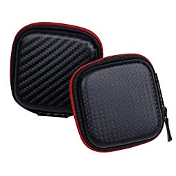 [New Generation] 2 Pack Portable ZHPUAT PU Leather Hard Carrying Case for MP3 Earphone, Headphone, Ear Buds and Little Stuff (Black+Red)