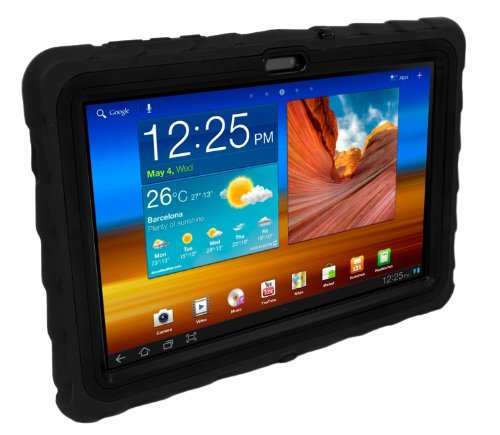 Samsung Galaxy Tab 2 (does not fit LITE) 10 inch (2012) Drop Tech Black Gumdrop Cases Silicone Rugged Shock Absorbing Protective Dual Layer Cover Case (Does Pic compare prices)