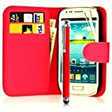 Mega.Deals4U® - PU Leather Flip Card Wallet Case For SAMSUNG GALAXY ACE STYLE SM G310HN INCLUDING STYLUS PEN + SCREEN PROTECTOR + CLEANING CLOTH (Red)