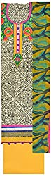 Simran Silk Store Women's Cotton Semi Stitched Dress Material (Off White, Black & Yellow)