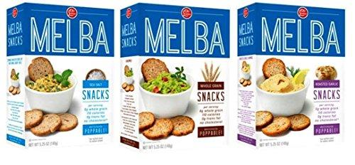 Old London Melba Snack Crackers 3 Flavor Variety Bundle: (1) Sea Salt Melba Rounds, (1) Whole Grain Melba Rounds, and (1) Roasted Garlic Melba Rounds, 5.25 Oz. Ea. (3 Boxes) (Roasted Garlic And Sea Salt Chips compare prices)