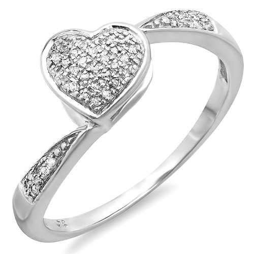 0.10 Carat (ctw) Sterling Silver Round Diamond Micro Pave Ladies Heart Shaped Swirl Promise Engagement Ring