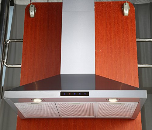 Kitchen Bath Collection 30-inch Wall-mounted Stainless Steel Range Hood with Touch Screen Control Panel, Capable of Vent-less Operation. High-end LED Lights Over 3x Brighter Than Competing Models (Range Wall Vent compare prices)