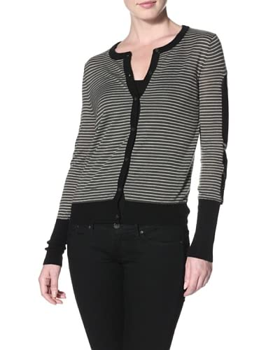 Shae Women's Cardigan with Leather Trim  [Army Stripe]