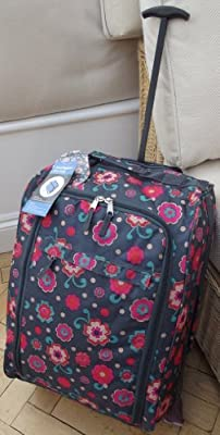Small Travel Holdall hand luggage carry on trolley Bag On Wheels Charcoal with Pink floral print CABIN APPROVED