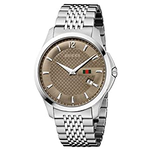 Gucci G-Timeless Collection Men's Quartz Watch with Brown Dial Analogue Display and Stainless Steel Bracelet YA126310