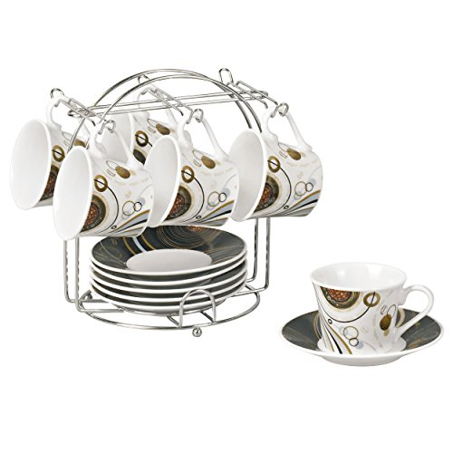 Lorren Home Trends 13-Piece Porcelain Espresso Cup Set with Iron Stand, Coffee Design, Black and White (Expresso Cups With Stand compare prices)
