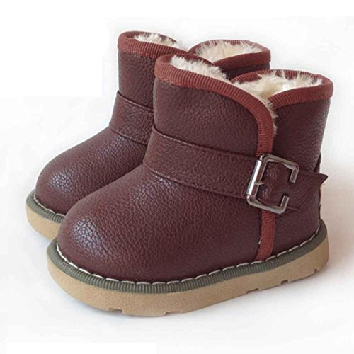 FAPIZI ❈ Boots ❈ Cotton Winter Baby Boys Girls Child Leather Shoes Martin Boot Warm Shoes (21, Brown)