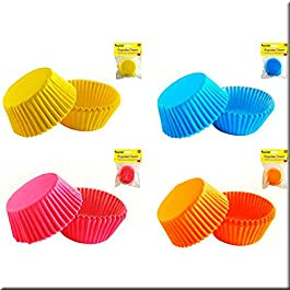 abedulart - Set cápsulas cupcakes, azul, naranja, amarillo y fucsia