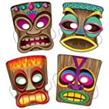 Beistle 66805 4-Pack Tiki Masks, 10-Inch