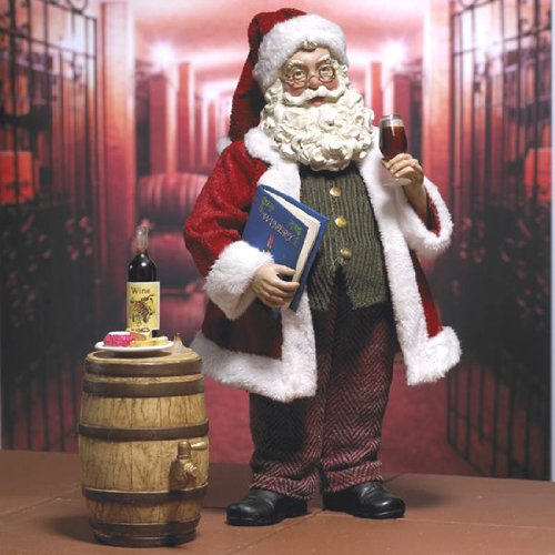 "10″ Fabriche ""A Fine Vintage"" Santa Christmas Figure with Wine Glass/Barrel"