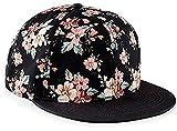 Snapback Damen Frauen Floral Blumen Snapback Cap Mütze Hut pink rosa schwarz Blumenmuster Muster Trend Fashion