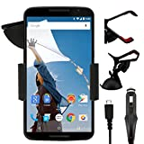 IWIO Motorola Nexus 6 Google 2014 Phone Universal 360 Degrees Rotating Suction Mount Car Holder with 12/24v 1000mAh In Car Charger