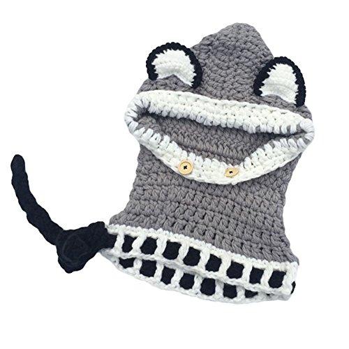 Nuovo cappello di protezione cappello di lana orecchio animale volpe con sciarpa bambini incappucciati lavoro a maglia handmade Autunno Inverno grandi cornicioni (grigio)