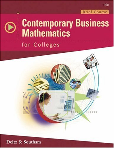 Contemporary Business Mathematics for Colleges, Brief Edition (with CD-ROM) (Available Titles CengageNOW)
