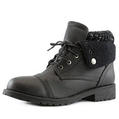 Women's DailyShoes Combat Style Lace Up Sweater Top Ankle Bootie With Pocket for Credit Card Knife Money Wallet Pocket Boots,