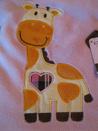 "Embroidered ""Giraffe Pink"" Soft Plush Reversible Blanket"