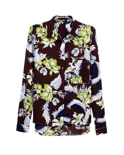 HaboZoo Womens Fashion Flower Print Lapel Blouse Shirt Small