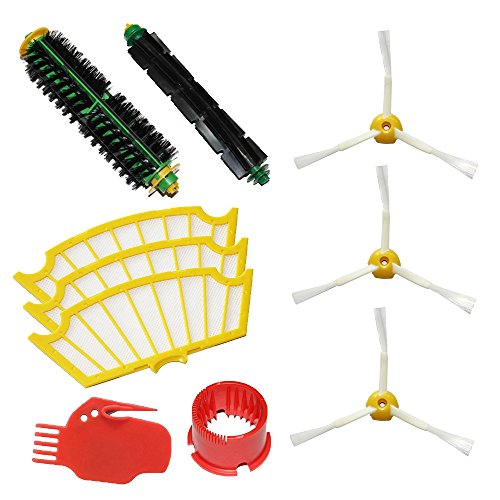 Shp-Zone Bristle Brush & Flexible Beater Brush & Side Brush 3-Armed & Filters & 2 Cleaning Tools Pack Kit For Irobot Roomba 500 Series Roomba 510, 530, 535, 536, 540, 550, 551, 552, 560, 564, 570, 580, 610 Vacuum Cleaning Robots All Green, Red, Black Clea front-537409