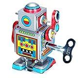 【ノーブランド品】レッド ブリキ製 ヴィンテージ風 おもちゃ ロボット 歩き回る 操作しやすい