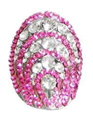 Faux Ruby And Zirconia Adjustable Ring - Stone And Metal