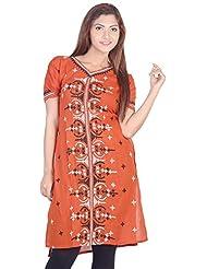 Aabarani Women's Hand Work Semi Stitched Cotton Kurta (ABKU015,Brown)
