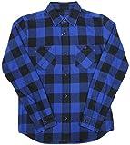 メンズ シャツ 長袖 ブロックチェック ワークシャツ 76802 (38(M), ブルー)