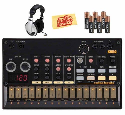 Korg Volca Beats Analog Drum Machine Bundle With Batteries, Headphones, And Polishing Cloth
