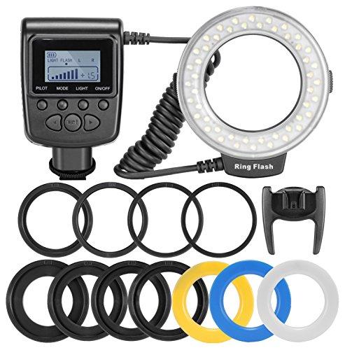 Neewer–Set flash ad anello 48Macro LED per Canon/Nikon/Panasonic/Olympus/Pentax SLR (testa ad anello macro, regolatored di potenza con display LCD, 4 diffusori Flash, 8anelli adattatore)
