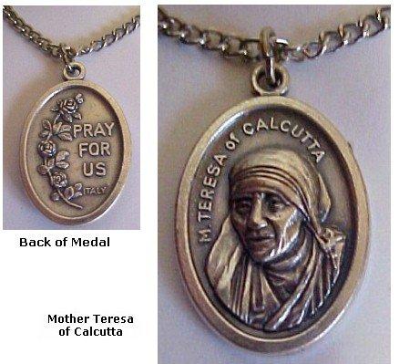 Mother Teresa Medals Necklace Spiritual Religious