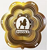 Stainless Steel Poodle Dog 12 Inch Wind Spinner, Copper