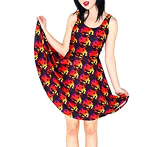 Ms. Pac-man Spaceman Skater Vestidos Bodycon Dress: Sports & Outdoors