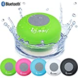 Guppy® Water Resistant Bluetooth Shower Speaker - Wireless Portable Audio, New 2015 Model - Kid-friendly, Built-in Control Buttons, Speakerphone, Powerful Suction Cup, w/Safety Lanyard - Best for Bath, Pool, Car, Beach, Indoor/Outdoor Use (Green)