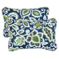 Mozaic Sabrina Corded Indoor/Outdoor Throw Pillows, 13 by 20-Inch, Floral Navy, Set of 2 by Mozaic Dropship