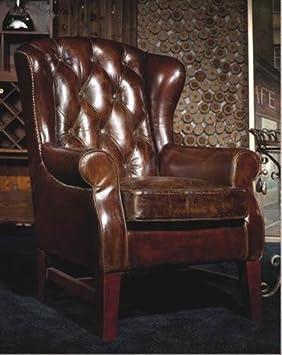 Chesterfield Vintage Ledersessel Braun Schwarz Echtleder Ohrensessel Design Clubsessel Lounge Sessel (braun)