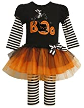 Bonnie Baby-girls Newborn 2-Fer Look Knit Top To Tulle Skirt with Legging, Black, 6-9 Months